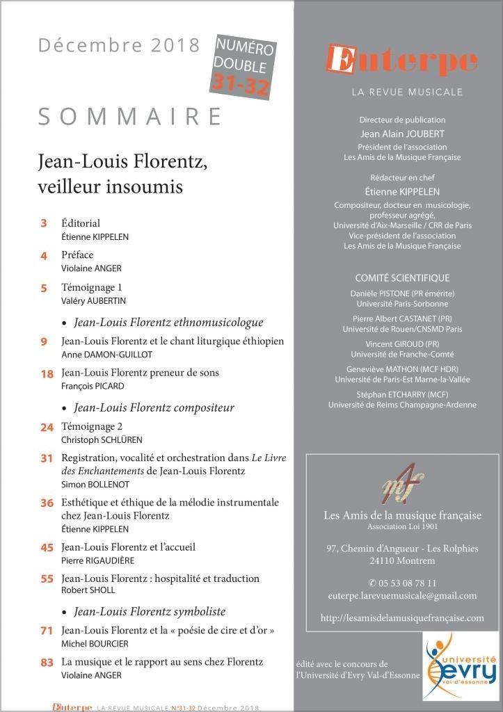 Euterpe : sommaire du numéro                de décembre 2018, Jean-Louis Florentz, veilleur insoumis